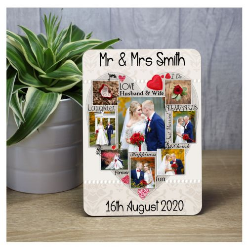 Personalised Mr & Mrs Wedding Picture Word Art Wood Panel Frame Print F52 - Wedding Keepsake Gift